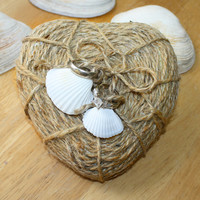 Beach Wedding Seashell and Twine Heart Ring Holder