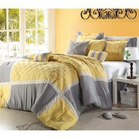 """""""Shelly"""" Oversized & Overfilled 8 Piece Yellow & Grey Comforter Set, Queen Size"""