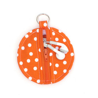 Circle Zip Earbud Pouch / Coin Purse - Orange and White Polka Dots