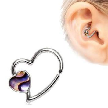 316L Stainless Steel Abalone Shell Heart Annealed Cartilage Earring