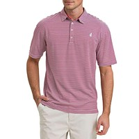 The Prep-Formance Bunker Striped Polo in Sweet Berry Wine by Johnnie-O