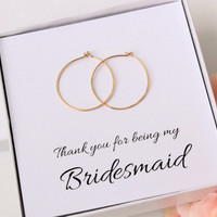 Thank you for being my Bridesmaid, Gift for Bridesmaids thank you, 14K Gold-Filled hoop earrings, 1 inch gold hoops Bridesmaids Earrings