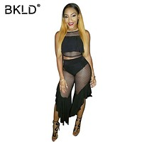 BKLD Sexy Ruffled Hollow Out Fishnet Two Piece Outfit Sets Summer Sleeveless Black Bodycon Mesh Set Womens 2pcs Cropped Tops Set