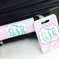 Monogrammed Luggage Handle Wrap / Roses Luggage Tag SET / Personalized Luggage Tag / Personalized  Bag Tag / Lilly Inspired Bag Tag