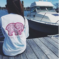 Round neck long sleeve printed elephant T-shirt