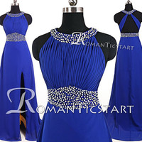2015 Royal blue chiffon slit side long prom dress with sequins,sweep-train criss cross evening dress,80s formal dress,party dress RS1103