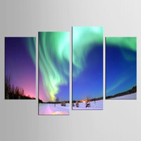 4 Panel Northern Light Canvas Painting Green Aurora Art Modern Framework Decor