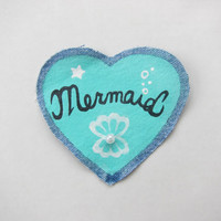 """Kawaii Hand Painted Aqua """"Mermaid"""" Sew-On Patch on Vintage Denim with Pearl Bead Accent"""