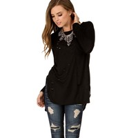 Sale-black Scattered Holey Tee