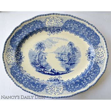 Royal Doulton Chatham Blue Transferware Platter Picnic near Cottage on the Lake