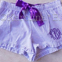 Womens monogrammed seersucker pajama shorts  Several colors to choose from. Great bridal gifts