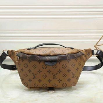 Louis Vuitton LV Fashion Leather Waist Bag Satchel Single Shoulder Bag Crossbody Brown