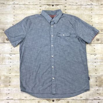 Patagonia Organic Cotton Chambray Short Sleeve Button Up Shirt Mens Size XL