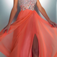 Mac Duggal Prom 2013-Coral Chiffon GownWith Silver Embellished Top - Unique Vintage - Prom dresses, retro dresses, retro swimsuits.