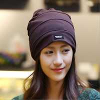 Crepe Knitted Folded Ear Knit Cap