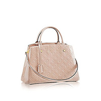 Louis Vuitton Montaigne MM Monogram Vernis Leather Handbag Article: M50169 Dune Made in France