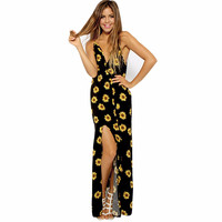 Women Sunflower beach dress dresses women dress style vestido plus size women clothing CF