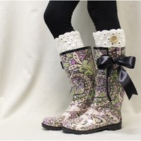 RB3 GYPSY Pink purple paisley tall rubber rain boots