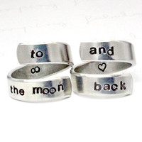 To The Moon And Back Ring Set, Personalized Love Rings, Love Statement Jewelry, Lovers Girl friend Bridesmaids Gift, Aluminum Spiral Rings