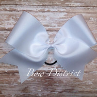 """3"""" Solid White Plain Cheer Bow"""