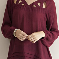 Cutout Detailed Blouse Burgundy- IN STOCK!