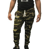 Gym Shark Fitted Sweatpants Bodybuilding - Camo