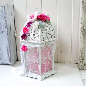Shabby Chic White Bird Cage, Decorative Bird Cage, Wedding Decor, Wedding Card Holder, Cottage Chic Birdcage, Pink Floral Nursery Decor