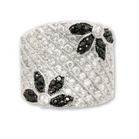 JanKuo Jewelry Flower Shape Wide Band Diamonique Ring with CZ Ship in Gift Box.