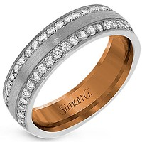 Simon G. Two Tone Double Row Diamond Wedding Band