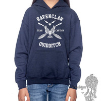 RAVENCLAW Quidditch team Captain WHITE printed on Navy Youth / Kids Hoodie