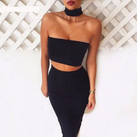 2 Piece Set Strapless Sexy Bandage Bodycon Dress