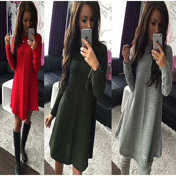 Three color stripes wool cloth long-sleeved dress