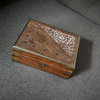 Vintage 1970s handcarved wooden box with brass inlay, wooden trinket box, carved floral pattern, decorative,
