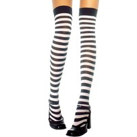 Adult Black and White Striped Thigh High Stockings
