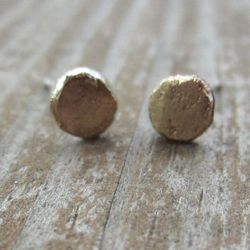 Little Gold Post Earrings, Solid 14k Gold on Sterling Silver Posts, Small Gold Pebbles