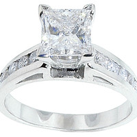 1.5 ct. DIAMOND antique look gold anniversary RING solid White gold 18K