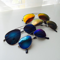 Kids 80s Retro Style Mirrored Aviator Sunglasses