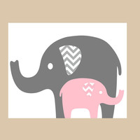 Nursery Decor- Nursery Art- Prints for Nursery or Kids Room- Elephant Mom or Dad with Baby Elephant- Shown in Gray and Pink