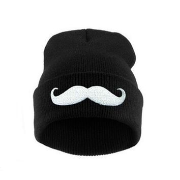 Europe and The United States Atumtn and Winter Men and Women's Bear Pattern Knitted Wool Warm Beanies Hat Ski Cap RX065
