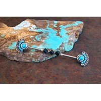 Turquoise Tribal Industrial Barbell