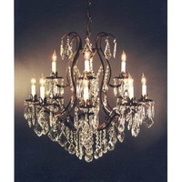 """Wrought Iron Crystal Chandelier H30"""" x W28"""""""