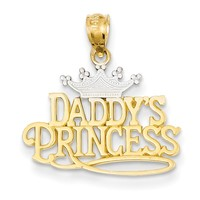14kt Yellow Gold Two Tone Crown Topped Daddy's Princess Girls Pendant