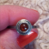 Amber Sterling Ring SIZE 7 Silver 925 Fossils Baltic Russian Genuine Southwestern Jewelry Gift Bridal Vintage Modern Tribal Huge Big