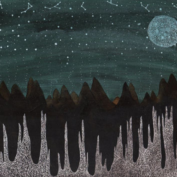 Fine Art Print-Ice Forest and the Harvest Moon