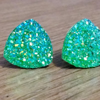 Druzy earrings-  Triangle iridescent green druzy earrings