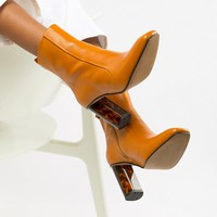 Kurt Geiger Mustard Leather Heeled Ankle Boots at asos.com