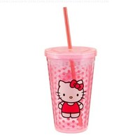 Vandor 18151 Hello Kitty 18 oz Acrylic Travel Cup with Lid and Straw, Pink