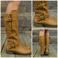Roaslie Quilted Tan Riding Boots-OUT OF BOX
