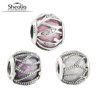 Original 925 Sterling Silver 3 Colors Faceted CZ Intertwining Radiance Charms Beads Fit Pandora Bracelets Shealia Jewelry Making