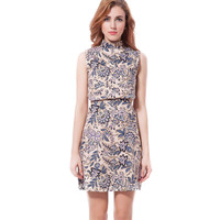 Female Zippers Round-neck Dress Hollow Out Print One Piece Dress = 5825545281